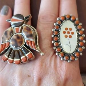Beautiful Vintage Zuni Sterling Coral MOP Ring